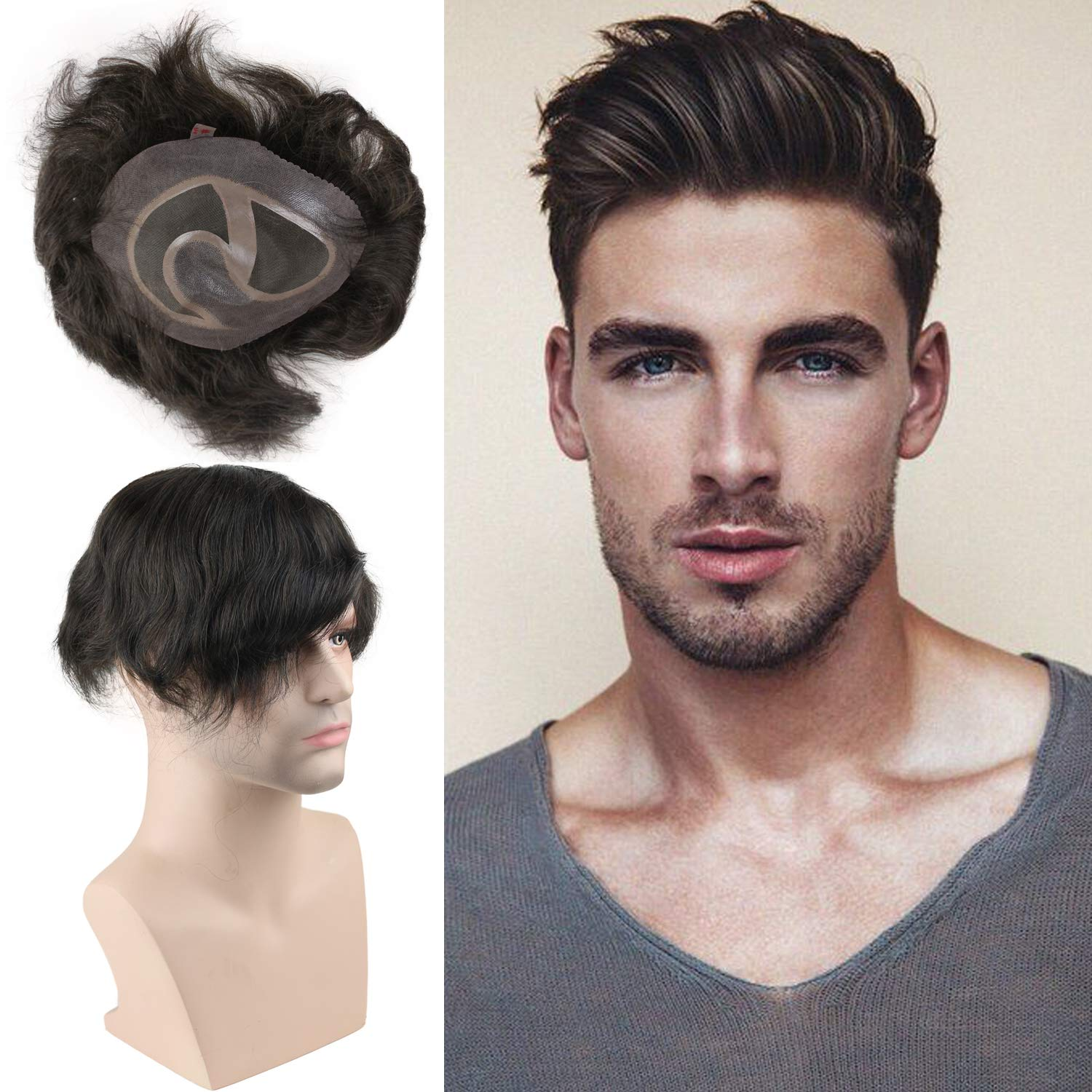 Replacement For Men Thin Skin Toupee Mono Lace Top Men's Hair Pieces Replacement System #3 Dark Brown Color Human Hair Toupee