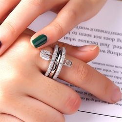 Mais novo doce anéis de dedo conjunto para mulher com pino aaa zircão cúbico anéis pave definir feminino festa jóias anillos mujer