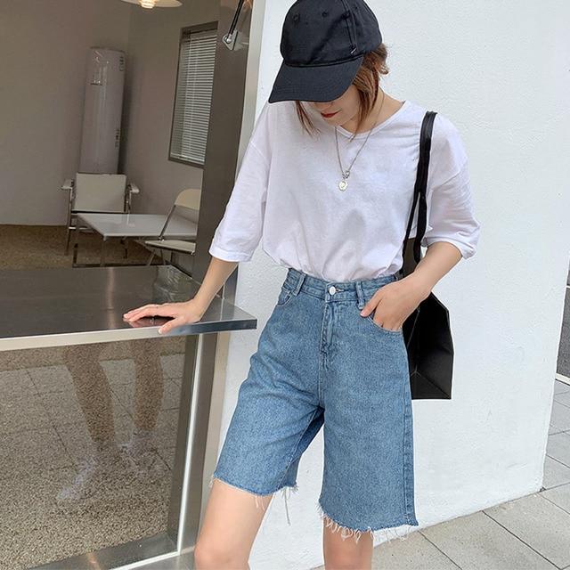 High Waist Slim Denim Shorts Bermuda Plus Size Woman New Fashion Tassel Tight Five-point Denim Shorts Washed Sexy Female Summer 5