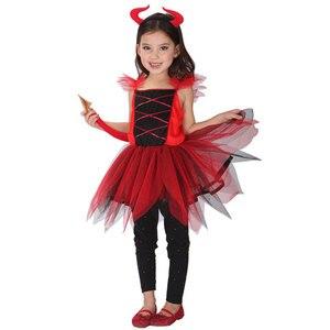 Image 2 - Umorden مخيف الأحمر القرن الشيطان Devilkin ازياء للأطفال طفل بنين بنات شيطان زي تأثيري فستان بتصميم حالم رداء هالوين