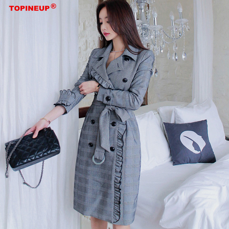 Fashion Women Comfortable Ruffles Long Coats New Arrival High Quality OL Temperament Outerwear Thick Holiday Outdoor   Trench   Coat