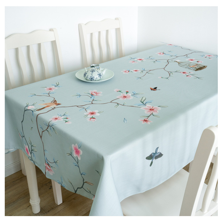 Waterproof Chinese Style Classical Meticulous Flowers And Birds Painting Tablecloth Restaurant Living Room Table Cloth Cover