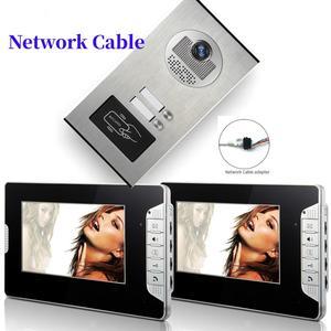 Квартира/семья видео дверной звонок Домофон Система RFID IR-CUT HD 1000TVL камера с 6 кнопками 2 монитора сетевой кабель
