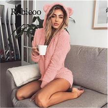 Winter warm pajamas hooded rabbit ears wool ladies conjoined animal jumpsuit adult