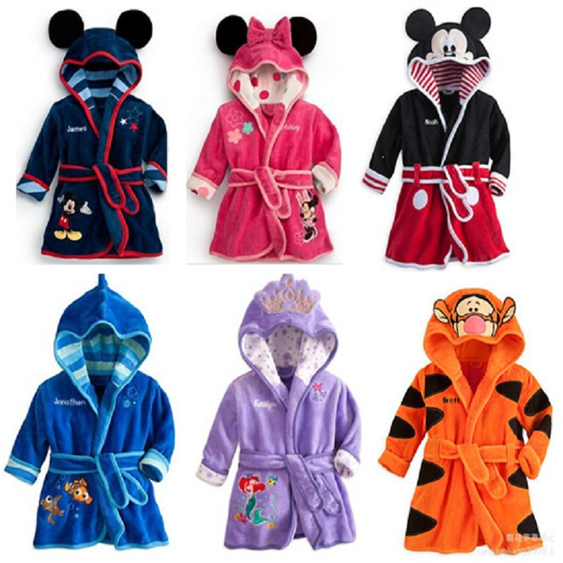 Childrens Bath Robes Cartoon Robes For Boys Girls Mickey Soft Warm Hooded Baby Flannel Robe Pajamas Bathrobe Kids Clothes 0-5Y