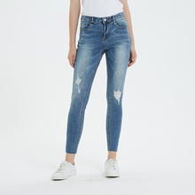 2019 Ripped Jeans for Woman Mid Waist Ankle-Length Streetwear Cotton Side Cut Pencil Pants