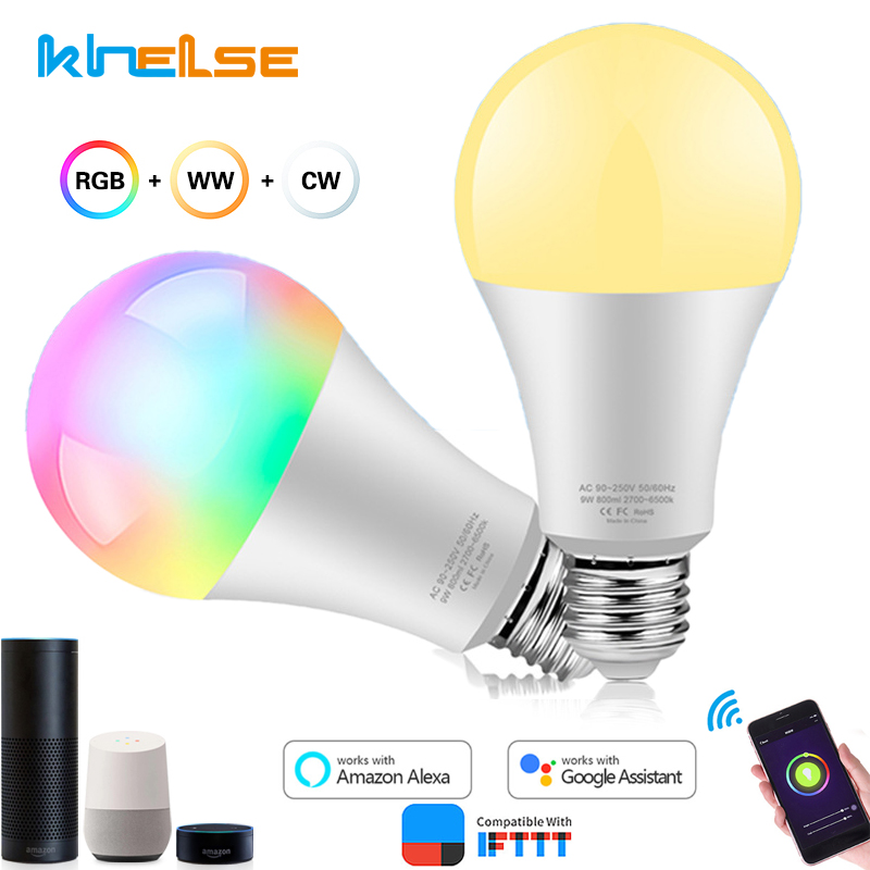 Dimmable E27 WiFi LED Smart Bulb Light LED Lampada 60W Equivalent App Operate RGB Warm White Cold Alexa Google Assistant Control image
