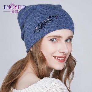 Image 3 - ENJOYFUR New Womens Winter Hats Double Lining Lady Cap With Rhinestones Angora Rabbit Thick Autumn Beanies