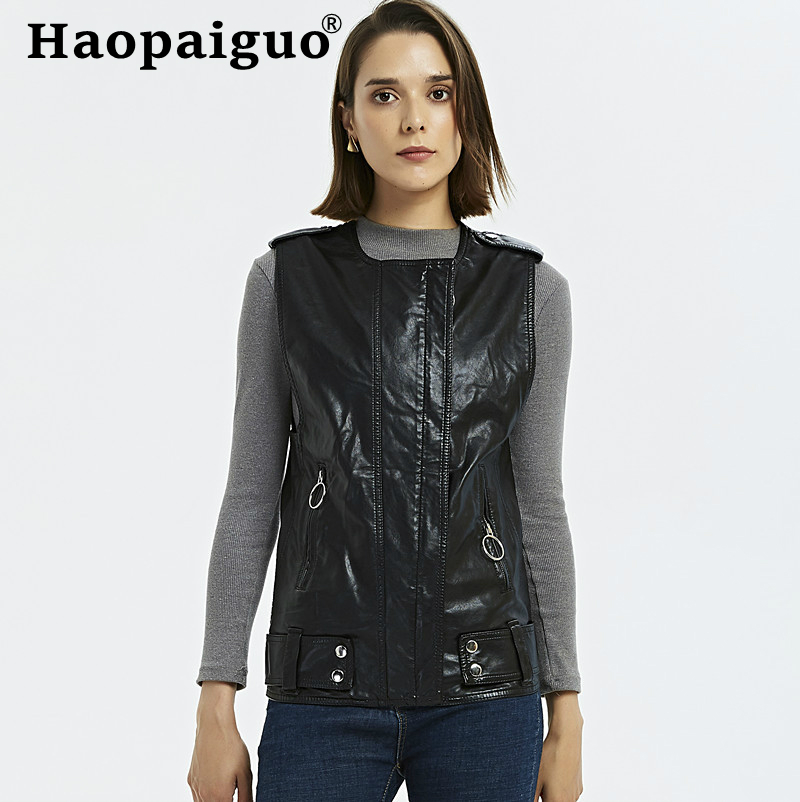 Women Autumn Faux   Leather   Vests Ladies Novelty Motorcycle Zippers Embossed PU Vest Tactical Black WaistCoat Female European Drop