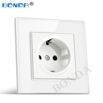BONDA German standard socket white black gold crystal glass / plastic panel AC 110 250V power socket 16A 2100ma wall socket