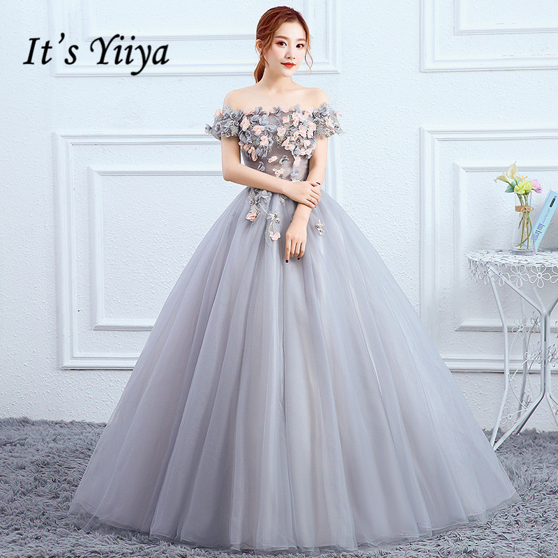 It's YiiYa Wedding Dress Full Appliques Pearls Beading Brides Dresses Flowers Lace Illusion Boat Neck Long Bride Gown E134