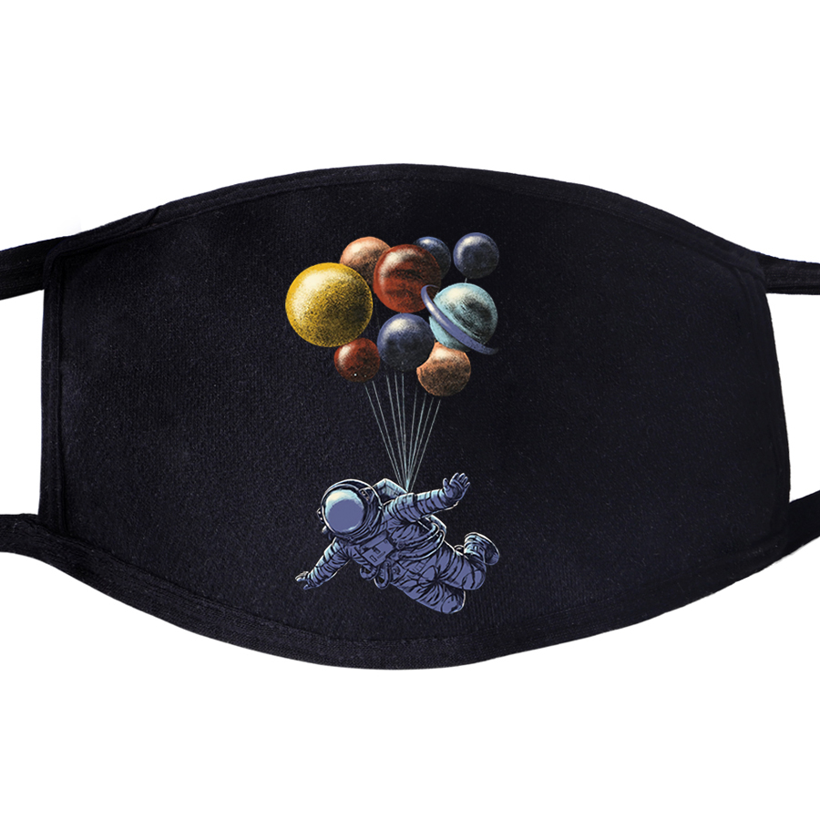 Astronaut Space BalPlanet Loon Face Mask Mouth Anti Dust Unixex Black Muffle Face Funny Dustproof Facial  Cover Masks