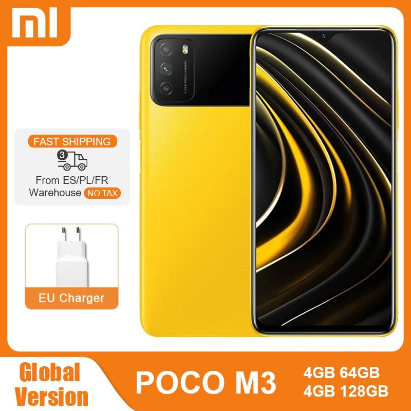 Глобальная версия POCO M3 4 Гб 64 Гб 128 ГБ Восьмиядерный Snapdragon 662 6000 мАч 48 МП Тройная камера 6,53