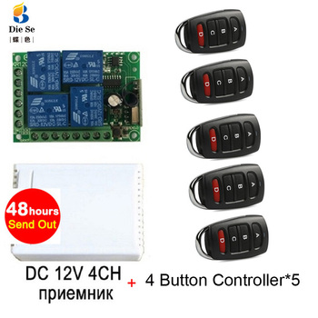 цена на 433MHz Universal Wireless Remote Control DC 12V 4CH Relay Receiver Module RF Switch 4 Button Remote Control Gate Garage opener