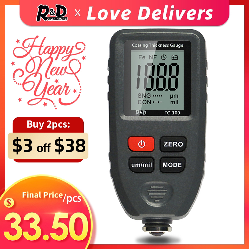 R amp D TC100 Coating Thickness Gauge 0 1micron 0-1300 Car Paint Film Thickness Tester Measuring FE NFE Russian Manual Paint Tool