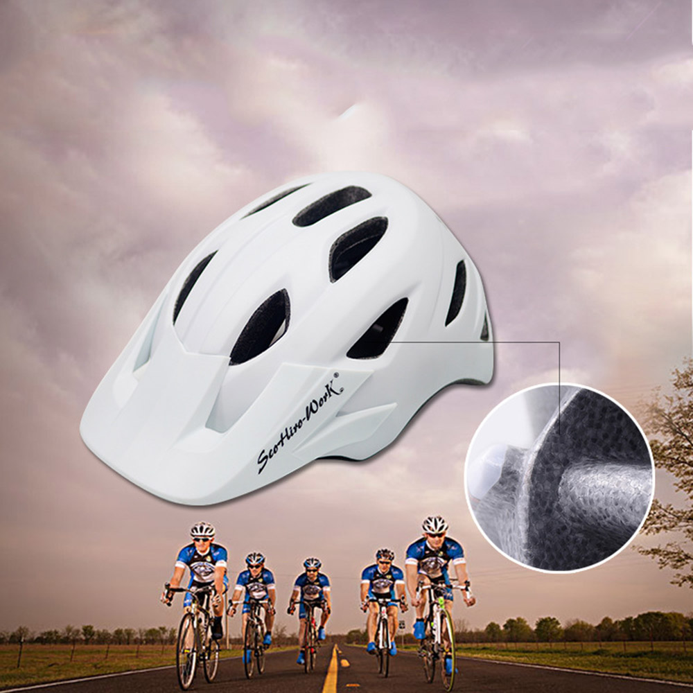 Cycling Helmet With Visor Ultralight MTB Road Bike EPS Helmets Mountain Bicycle Safety Integrally-mold Head Cover Casco BC0081 (2)