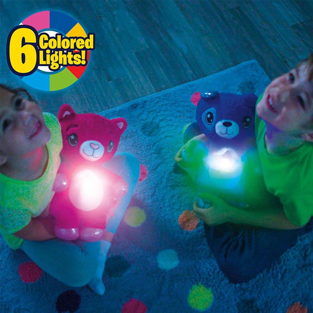 Animais de pelúcia com projetor de luz na barriga confortante brinquedo de pelúcia luz da noite fofinho filhote de cachorro presentes de natal para crianças|Brinquedos de pelúcia que acendem|   -