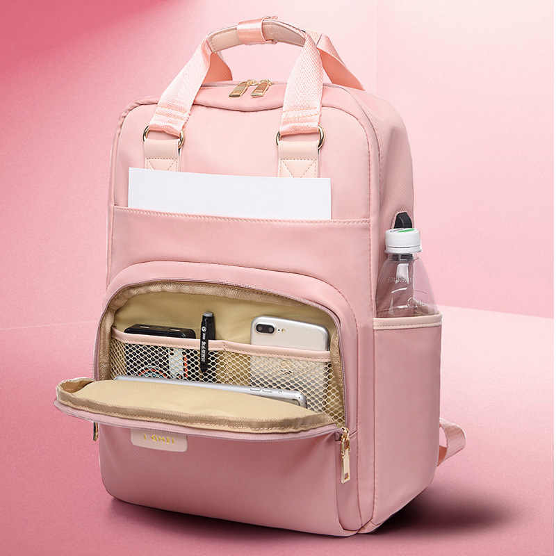 PUIMENTIUA Waterproof Pink Laptop Backpack Female Fashion Girl Backpack 13-15.6 Inch Backpack Women Men Oxford Cloth Black Pink