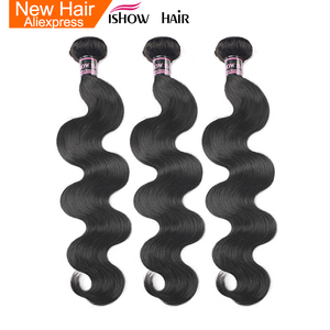 Ishow Indian Human Hair 3 Bundles Body Wave Hair Weave Bundles 300g Natural Color Non Remy Hair Extensions Can Be Dyed