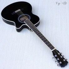 Тонкий корпус акустическая-электрогитара для начинающих гитара с бесплатной гиговой сумкой струна черный натуральный Солнечный белый цвет