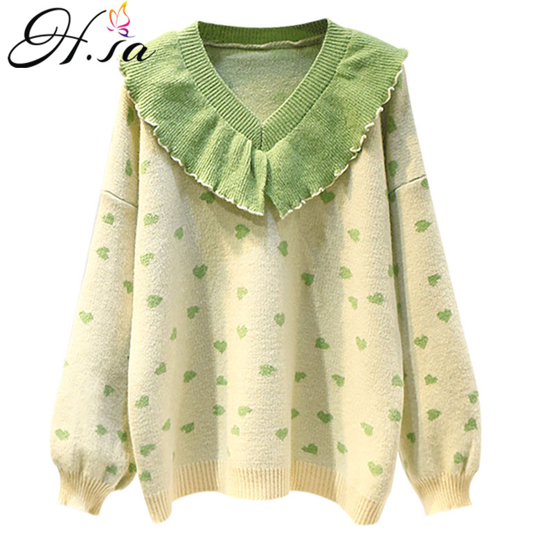 H.SA Winter Knit Sweaters V Neck Ruffles Pull Jumpers V Neck Loose Chic Clothing Christmas Sweater Polka Dots Winter Sweater