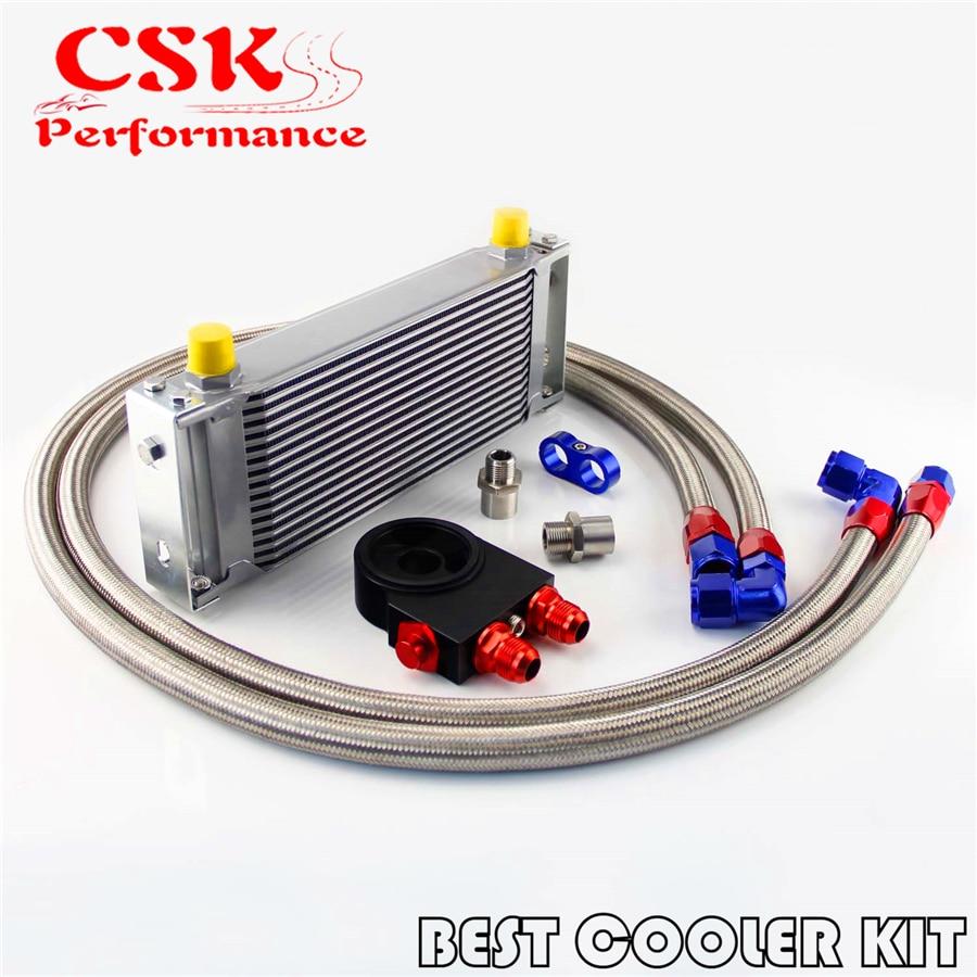 16 reihe Motoröl Kühler Kit AN10 Thermostat Sandwich Platte + Öl Linien Kit Silber/Schwarz auf CSKS-Autoparts Store