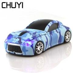 CHUYI 2.4Ghz bezprzewodowa mysz samochodowa fajne kamuflaż samochód sportowy myszy 1600 DPI USB komputera mysz optyczna z LED światła dla PC prezent