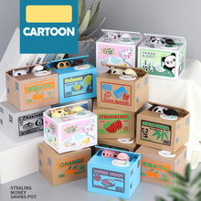 Cat Money Piggy Bank Panda Stealing Coin Boxes Automatic Saving Box Gift for Children Kids Birthday