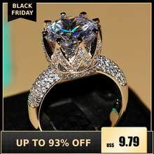 Fashion Perhiasan 8ct Solitaire Luxury 925 Perak Putih Besar 5A CZ Simulasi Batu Pernikahan Wanita Band Crown Ring Hadiah Ukuran 5-11(China)