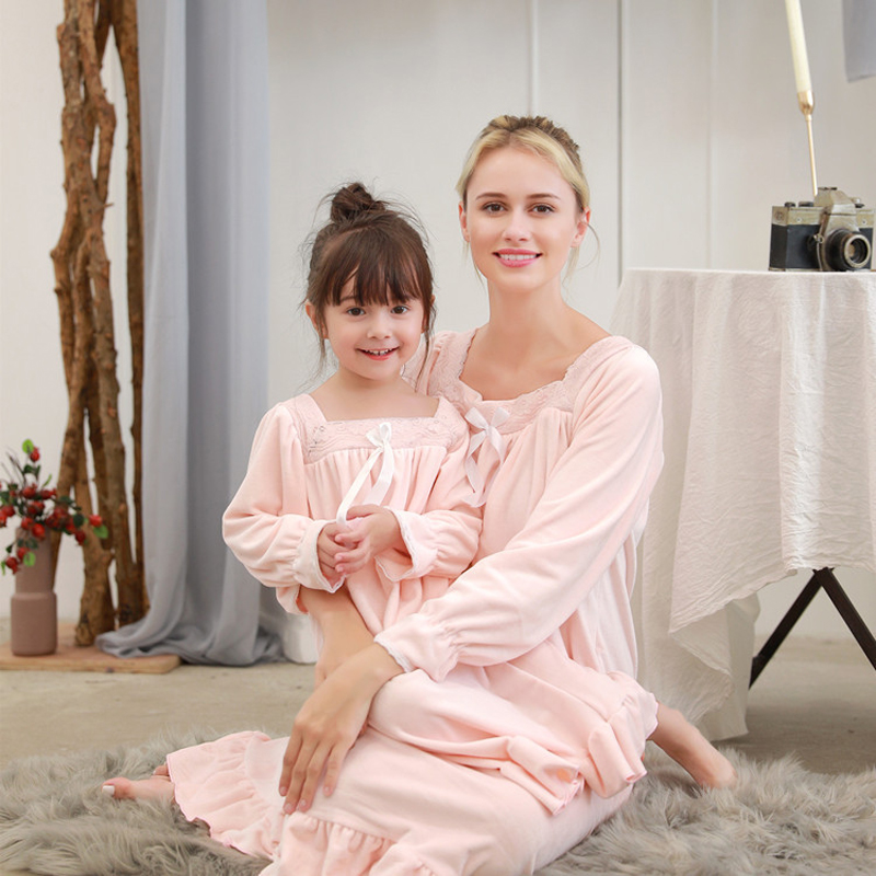 Autumn And Winter Daughter And Child Wear Thermal Double-Sided Fleece Long Korean Princess Nightgown Casual Home Clothing