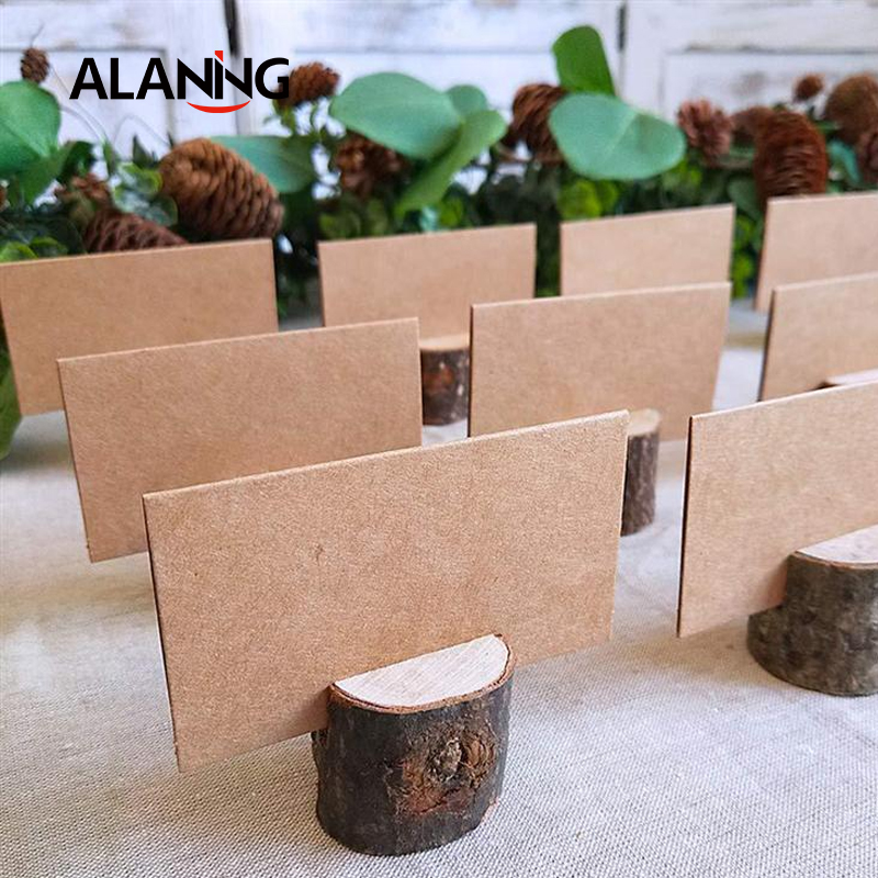 20/40pcs Natural Wooden Bark Memo Holder For Party Decorative Wood Pile Name Place Card Holders Menu Wedding Birthday Decor