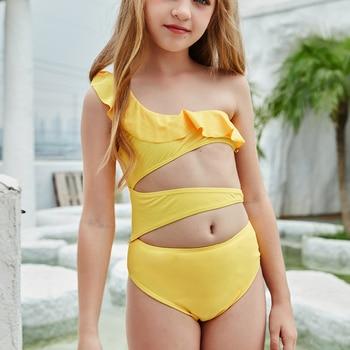 2-14 jahre Rüsche Kleinkind Kinder und Teen Mädchen Ein Stück Badeanzüge Hohl Monokini Bademode One-Geschultert Strand badeanzug 1
