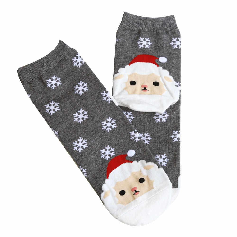 1 คู่ผู้หญิงฤดูหนาวถุงเท้าอบอุ่นคริสต์มาสถุงเท้า MID-CALF ขนสัตว์ Snowflake Deer สบายของขวัญสาวน่ารัก Meias DROP 911
