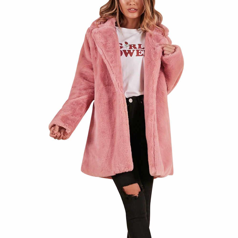 40 @ taklit kürk kış ceket kadın yumuşak kürk ceket kalınlaşmak sıcak dış giyim uzun kollu ceket ceket Parka kabanlar açık uzun ceketler