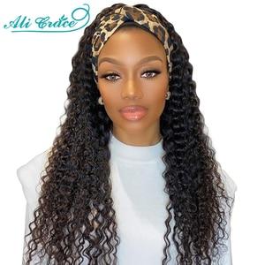 Ali Grace волосы глубокая волна парик с головной повязкой для женщин бразильский глубокий кудрявый парик с регулируемыми лентами без клея повя...