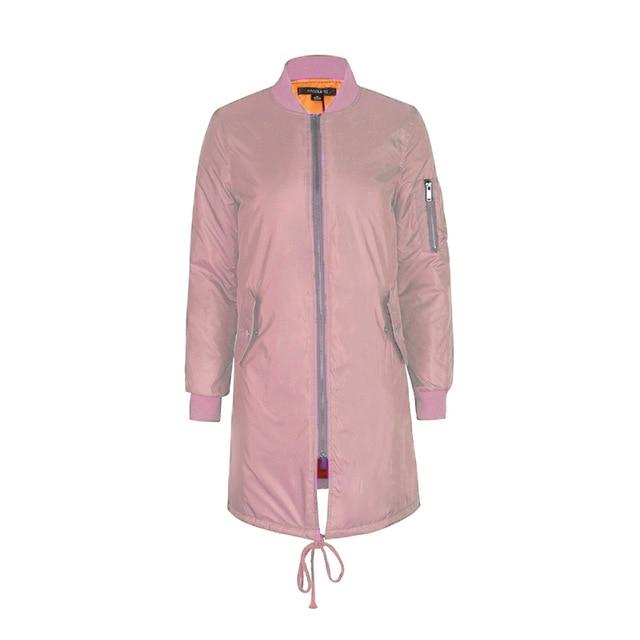 Winter long coats and jackets women female coat casual military pink black green bomber jacket women basic jackets plus size