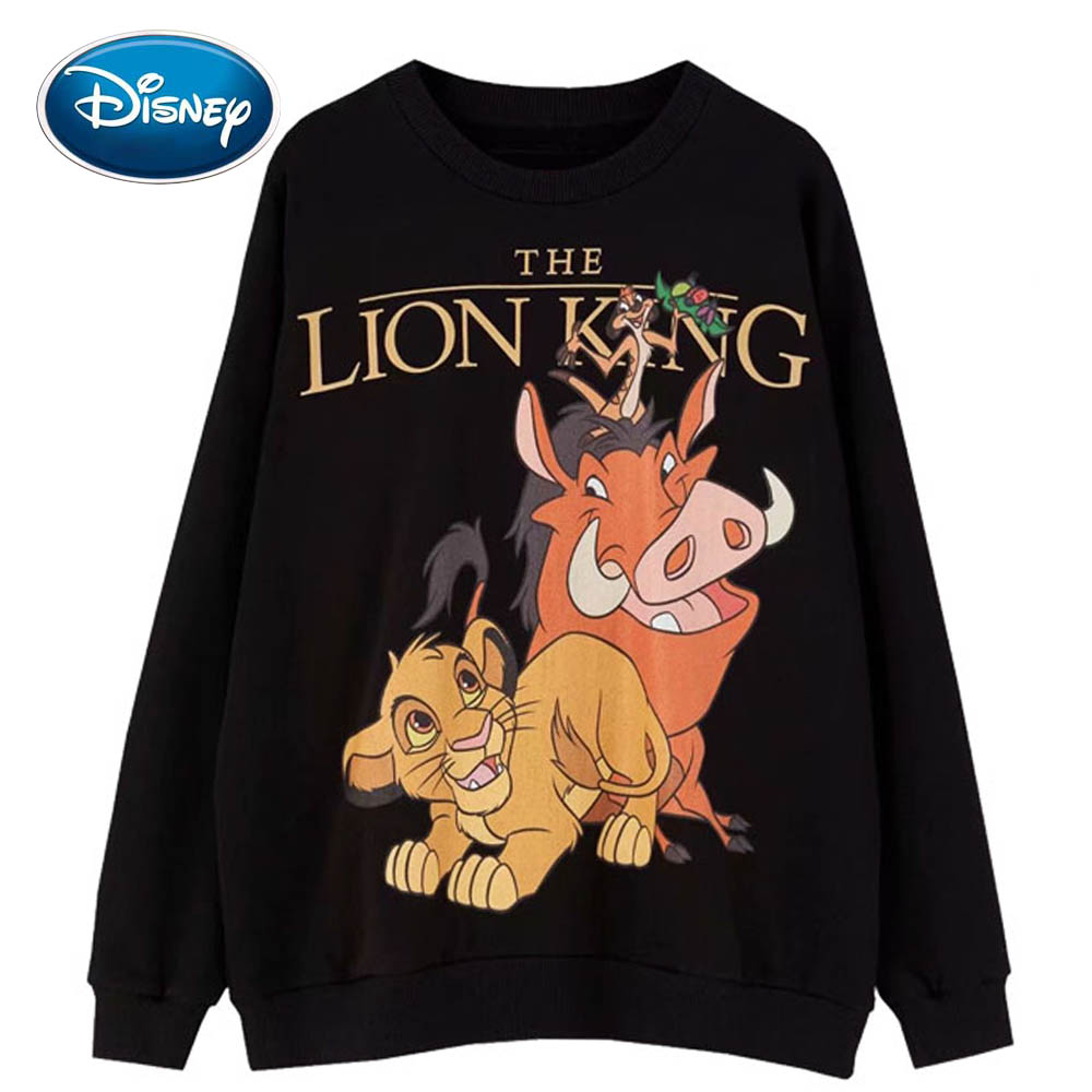 Disney Stylish The Lion King King Of The Jungle Cartoon Print Women Sweatshirt O-Neck Pullover Long Sleeve Harajuku Loose Tops
