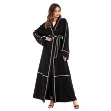 Dubai Muslim Open Abaya Hijab Dress Long Robe Caftan Kimono Jubah Lace-up Moroccan Turkey UAE Dubai Splice Arab Islamic Clothing(China)