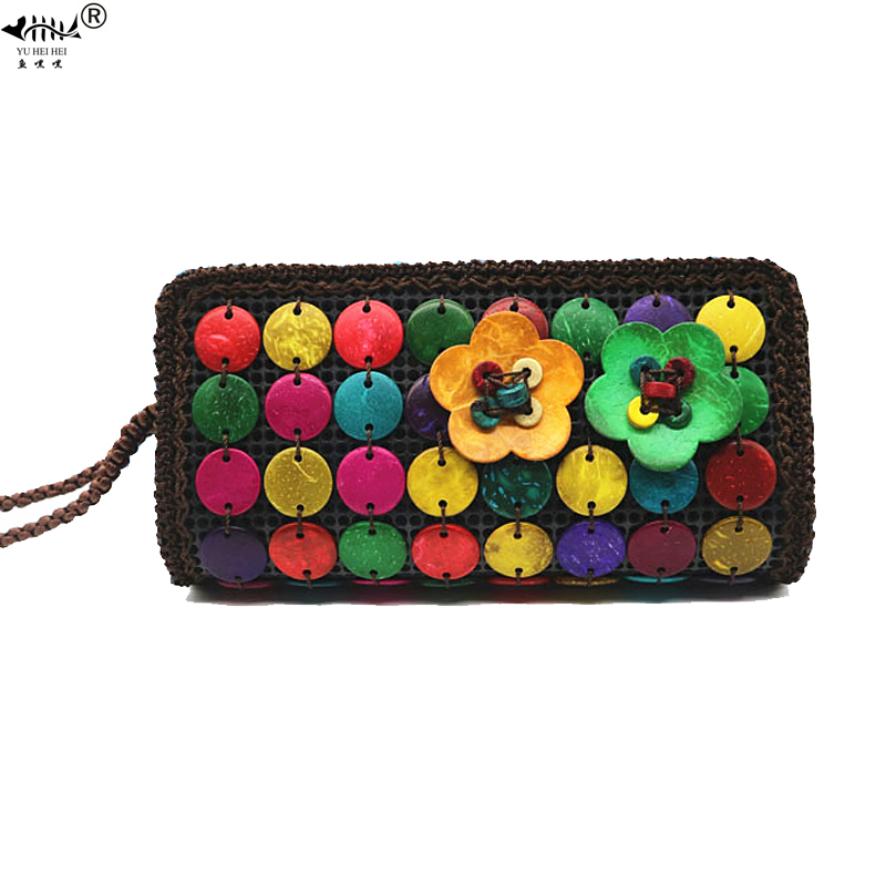 Original Handmade Long Hand Wallet Purses Wrist Coconut Shell Phone Bags Women Bohemian Wallets Lady Travel Bag Bags