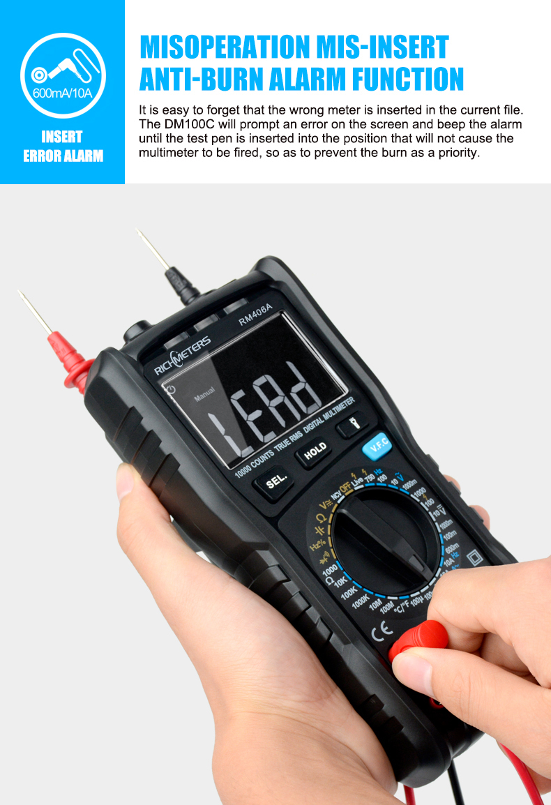 RM406B Digital Multimeter with 10000 Counts and Anti Burn Alarm for AC Voltage and Current Frequency Test 26