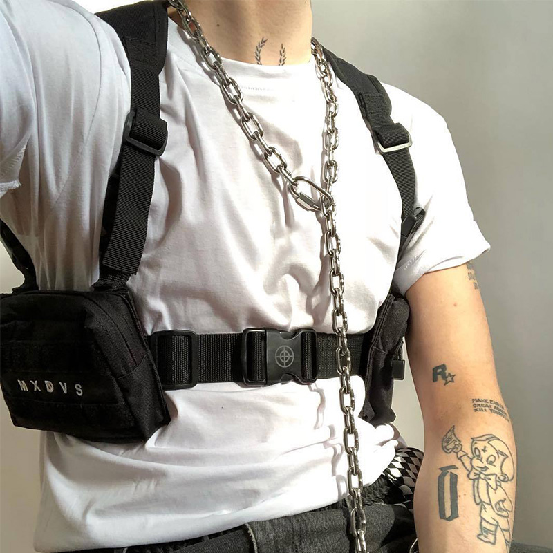 Tactical Unisex Chest Rig Bag Streetwear Chest Bag Functional Tooling Hip Hop Vest Bags Two Pockets Men Fanny Pack Kanye West