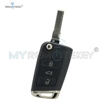 Remtekey Flip key shell 3 button HU66 blade for VW Golf 7 volkswagen key case 2013 2014 car key cover replacement free shipping hu66 flip key blade for vw audi remote key 20pcs lot