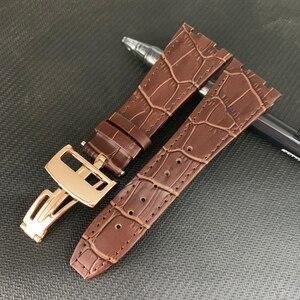 Image 2 - Audemars Correa de cuero genuino para reloj, correa de reloj hecha a mano de 26mm para 100%, para AP Piguet + herramientas