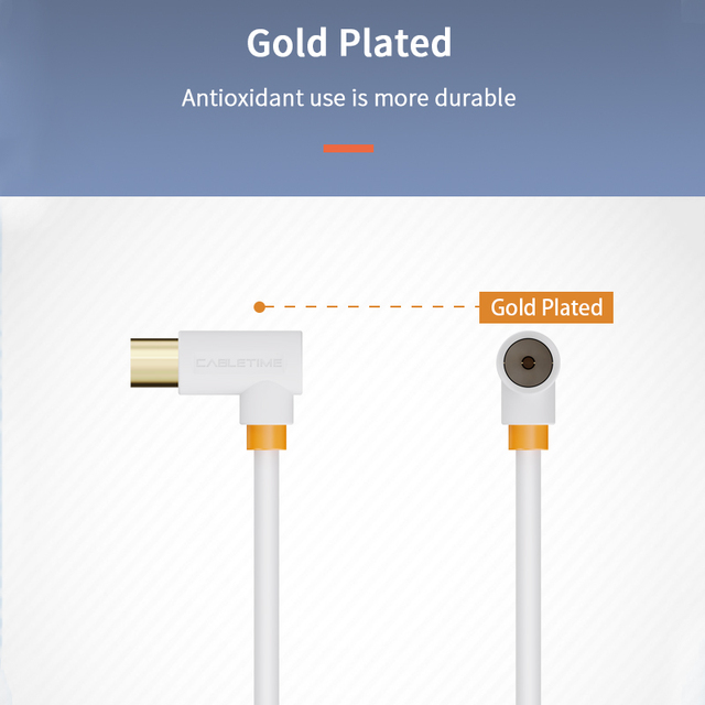 CABLETIME Digital TV Cable 90 degree M/F Coaxial Satellite Antenna Cable Video Cable for HD Television STB Line C317 4