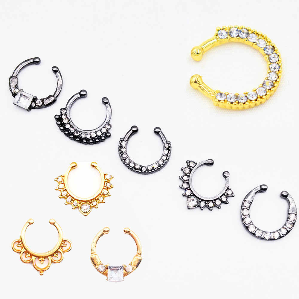 3pcs/set Crystal Clicker Fake Septum Nose Ring for Women Gold Black Silver Color Fake Nose Ring Piercing Faux Non Body Jewelry