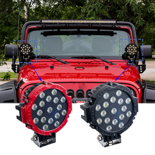 ECAHAYAKU 2Pcs 7 Inch 51W Round LED Work Light Headlight Spot Flood Beam For 4x4 Offroad Truck Tractor ATV SUV Driving FOG Lamp hot sale 30w led work light offroad 4d car atv trailer camper motorcycle truck 4x4 utv tractor awd driving fog lamp spot flood