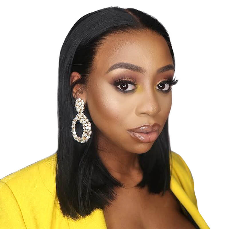 Stort Bob Wigs Straight Brazilian Human Hair Lace Front Wig Pre Plucked Hair Line With Natural Baby Hair Around Natural Color