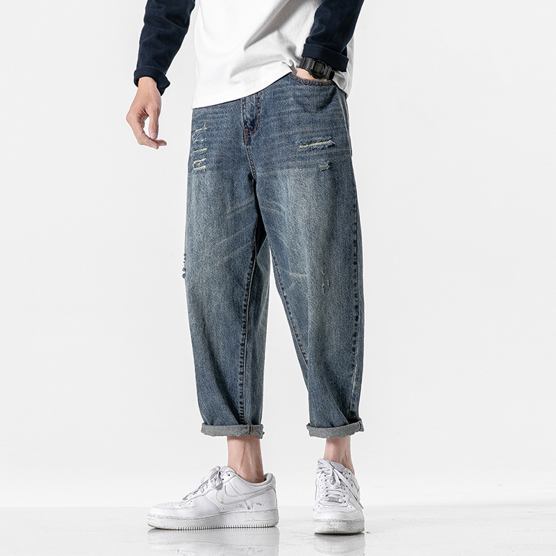 Men's Jeans 2020 Spring And Summer New Style Loose Holes Nine Points Jeans Youth Personality Fashion Trend Men's Clothing