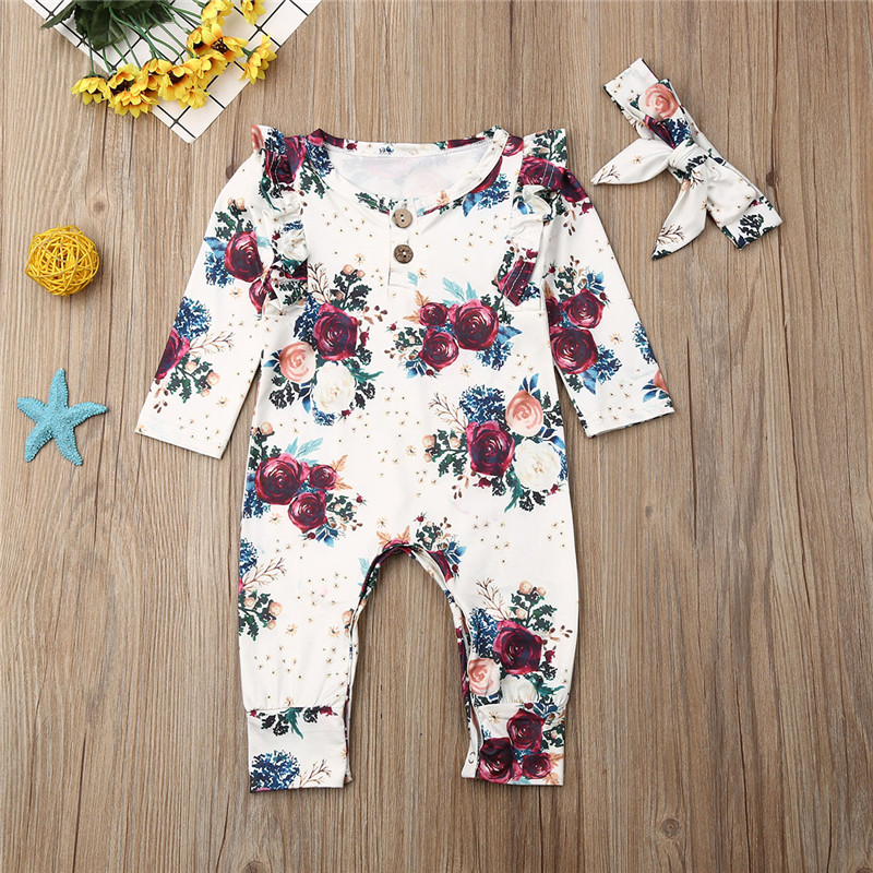 2019 Newborn Baby Girl Clothes Long Sleeve Floral Romper White Green Jumpsuit And Headband Outfits Clothing 2-Piece