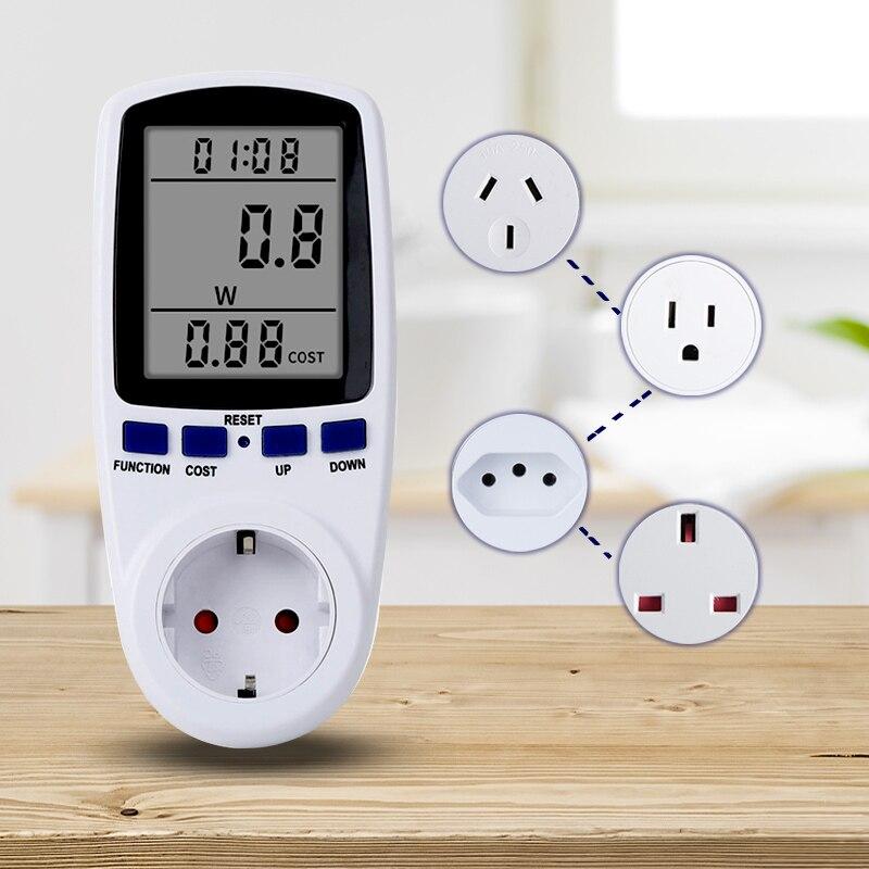 Digital AC Power Meter Socket Wattmeter Outlet Power Analyzer Energy Meter Kwh Meter EU/UK/AU/BR/US Plug Current Price Display